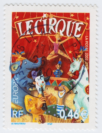 FRANCE - CIRCA 2002: stamp printed in France shows Circus, circa 2002 Stock Photo - 15876420