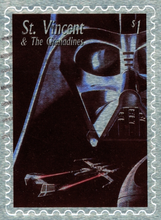 star wars: St. VINCENT - CIRCA 2003 : stamp printed in St.Vincent with poster Star Wars movie show Dart Vader, circa 2003