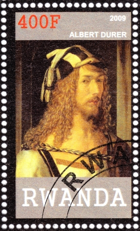 durer: RWANDA - CIRCA 2009: Stamp printed in Rwanda shows Albert Durer - great German painter, print maker and theorist from Nuremberg, circa 2009