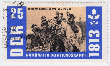 GERMANY- CIRCA 1963 : stamp printed in Germany shows Lutzows Freischar military Oficer in Napoleon War, circa 1963 Stock Photo - 15876421