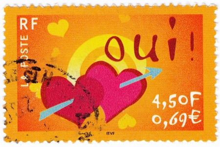 FRANCE - CIRCA 2005: stamp printed in France shows valentine day concept with hearts, circa 2005