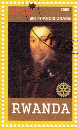 privateer: RWANDA - CIRCA 2009: Stamp printed in Rwanda shows Sir Francis Drake English sea captain, privateer, navigator, slaver, a renowned pirate, and politician of the Elizabethan era, circa 2009