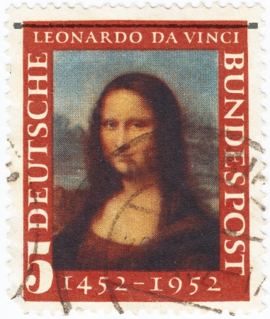 GERMANY- CIRCA 1952 : stamp printed in Germany, Mona Lisa, 500th anniversary of Leonarde da Vincis birth, circa 1952