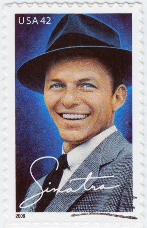 frank: UsA - CIRCA 2008 : stamp printed in USA show Frank Sinatra, circa 2008