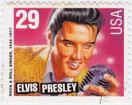 postmarked: USA - CIRCA 1980 : stamp printed in USA showing Elvis Presley, circa 1980