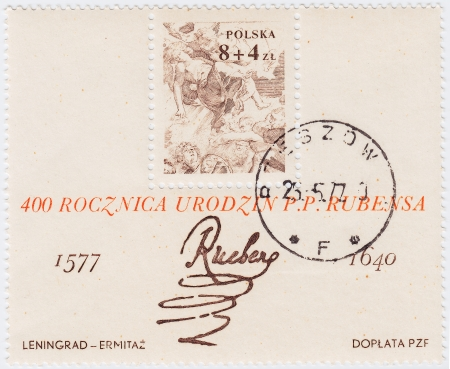 POLAND - CIRCA 1977 : stamp printed in Poland shows signature of artist Peter Paul Rubens and her pic, circa 1977 Stock Photo - 15876409