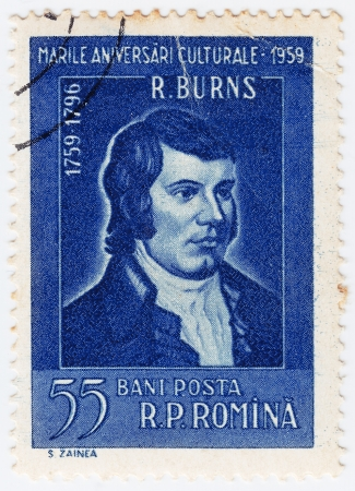 robert: ROMANIA - CIRCA 1959: stamp from Romania shows image of Scots poet Robert Burns, celebrating his 200th birthday, circa 1959 Editorial
