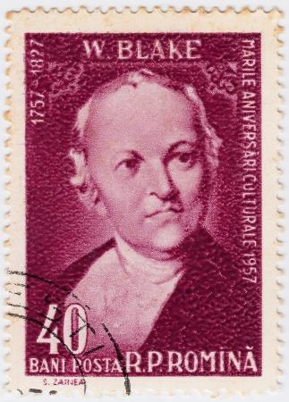 printmaker: ROMANIA - CIRCA 1958: William Blake English poet, painter, and printmaker, circa 1958