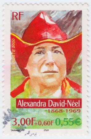 alexandra: FRANCE - CIRCA 2000: stamp printed in France shows Alexandra David-Neel, circa 2000 Editorial