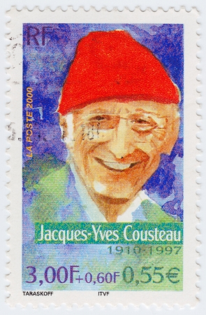 FRANCE - CIRCA 2000: stamp printed in France shows Jacques Yves Cousteau, circa 2000 Stock Photo - 15876430