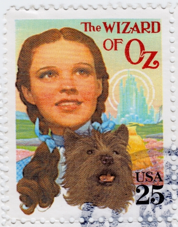 circa: USA - CIRCA 1978 : stamp printed in USA shows Judy Garland in poster of The Wizard of Oz is a 1939 American fantasy film,  circa 1978 Editorial