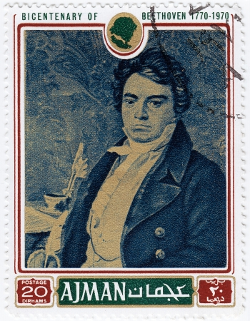 AJMAN - CIRCA 1970 : stamp printed in Ajman shows a portrait of Ludwig van Beethoven, circa 1970 Editorial