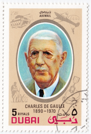 DUBAI - CIRCA 1990 : stamp printed in Dubai shows Charles De Gaulle - French general, founded the French Fifth Republic , circa 1990