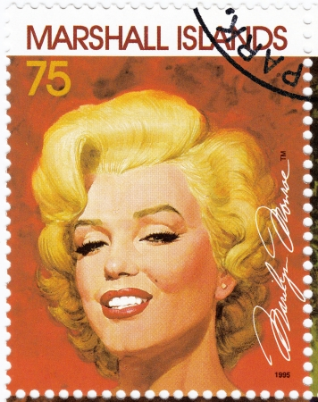 marilyn: MARSHALL ISLANDS - CIRCA 1995 : Stamp printed in MArshall Islands with popular 1960s American actress Marilyn Monroe, circa 1995