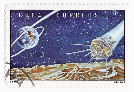 postmail: CUBA - CIRCA 1973 : stamp printed in Cuba shows the soviet moon station Luna I, circa 1973