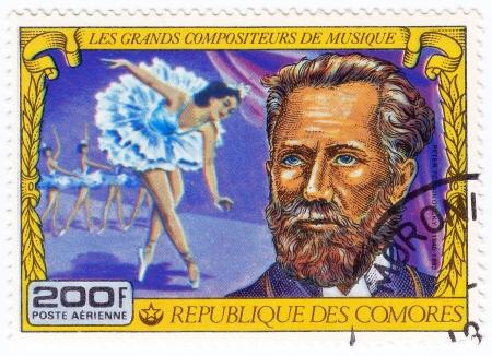 comores: COMORES - CIRCA 1977: Stamp printed in Comores shows Pyotr Tchaikovsky, russian romantic composer mainly of opera, circa 1977