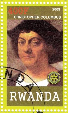 colonizer: RWANDA - CIRCA 2009 : stamp printed in Rwanda shows portrait of Christopher Columbus, circa 2009 Editorial