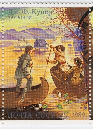 USSR - CIRCA 1989: stamp printed in the USSR shows scene from The Deerslayer, or The First Warpath by James Fenimore Cooper, circa 1989 Stock Photo - 15909743
