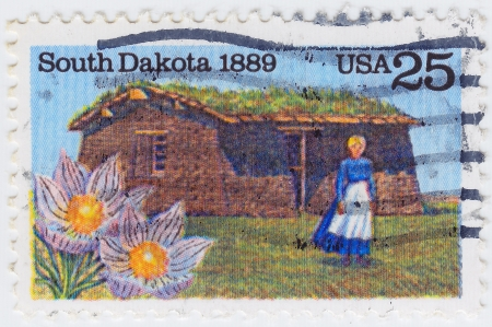 USA - CIRCA 1989 : stamp printed in the USA shows image of a woman in nineteenth century South Dakota, circa 1989 photo