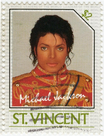 SAINT VINCENT - CIRCA 1985 : stamp printed in St. Vincent with Michael Jackson , circa 1985