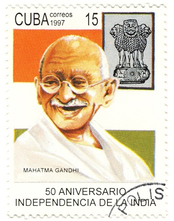eminent: CUBA - CIRCA 1997 : eminent political and spiritual leader of India during the Indian independence movement - Mahatma Gandhi Editorial