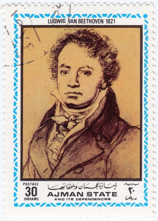 AJMAN - CIRCA 1972   stamp printed in Ajman shows a portrait of Ludwig van Beethoven,  circa 1972 Stock Photo - 15902607