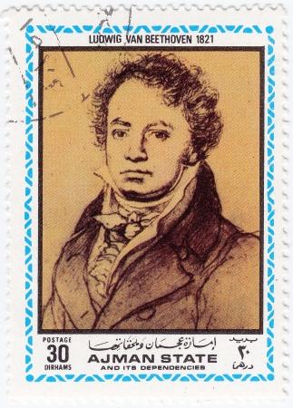 AJMAN - CIRCA 1972   stamp printed in Ajman shows a portrait of Ludwig van Beethoven,  circa 1972 Stock Photo - 15902607