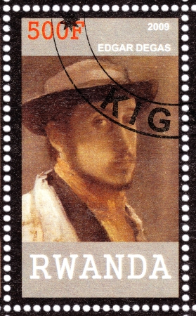 RWANDA - CIRCA 2009  Stamp printed in Rwanda shows Edgar Degas- great French Impressionist artist , circa 2009