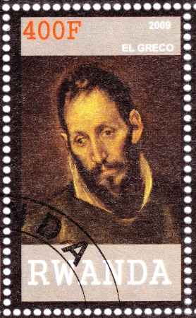 printmaker: RWANDA - CIRCA 2009  Stamp printed in Rwanda shows El Greco painter, sculptor, and architect of the Spanish Renaissance, circa 2009 Editorial