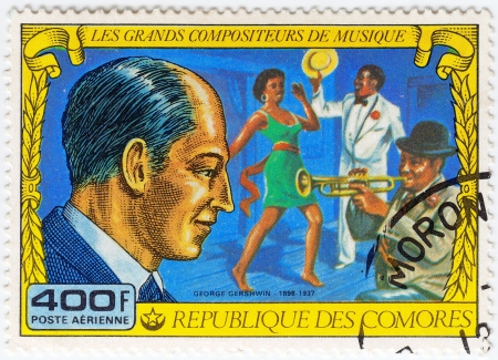 comores: COMORES - CIRCA 1977  stamp printed in Comores shows George Gershwin great  American composer and pianist, circa 1977