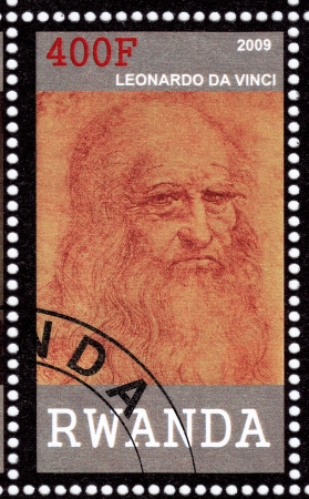 RWANDA - CIRCA 2009  stamp printed in Randa showing Leonardo Da Vinci, circa 2009 Stock Photo - 15902309