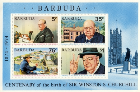 churchill: stamp with Winston Churchill