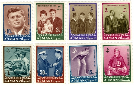 john fitzgerald kennedy: a vintage stamps with 35th president of USA  - John Fitzgerald Kennedy
