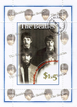stamp with group The Beatles