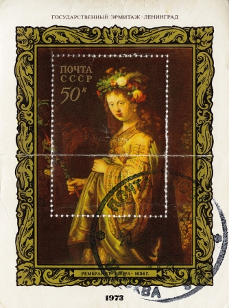 rembrandt: USSR - CIRCA 1973 : stamp printed in the USSR shows pic of artist Rembrandt - Flora, circa 1973 Editorial