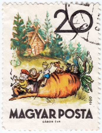pic: HUNGARY - CIRCA 1960 : post stamp printed in Hungary shows pic from tale about small turnip , circa 1960