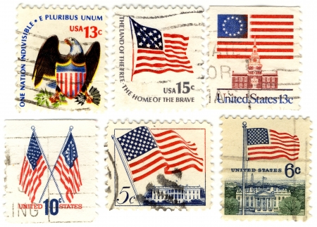 old stamps with symbols of USA photo