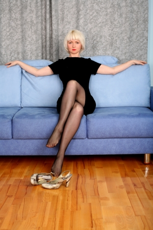 blondie: lovely girl in sofa at home