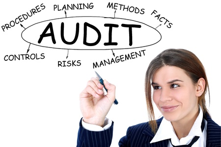 career management: businesswoman drawing plan of Audit