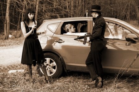 cigar smoking woman: man and two woman with cigar, wine in car