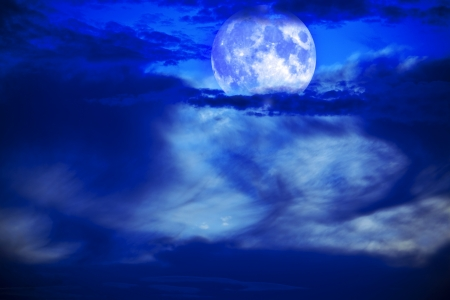 moon night with beautiful sky and clouds photo