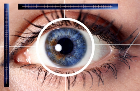 scan cyber eye for security or identification Stock Photo