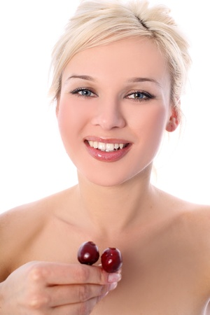 blonde with cherry isolated in white photo