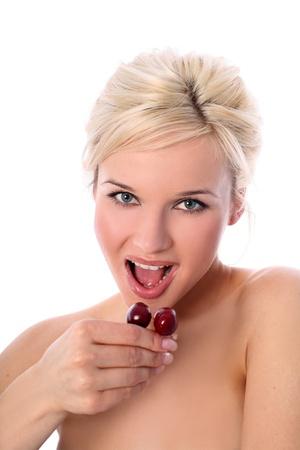 blonde with fresh cherry photo