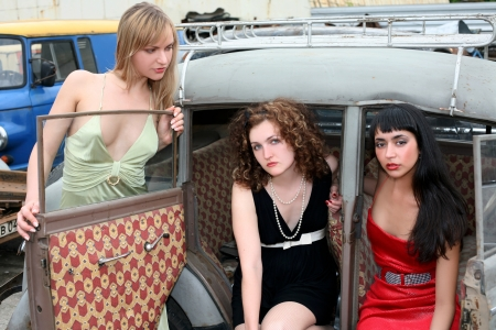 girls in old car photo