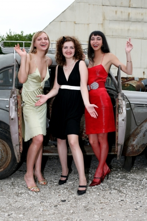 girls with old car photo