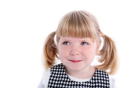 little girl isolated on white Stock Photo - 15942448
