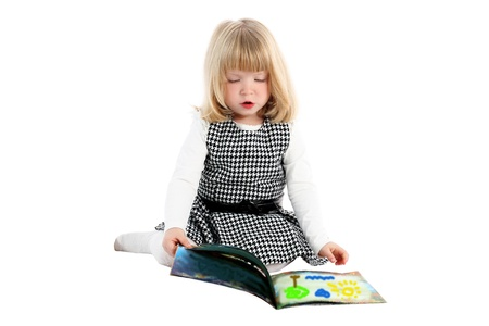 girl with book isolated on white Stock Photo - 15942151