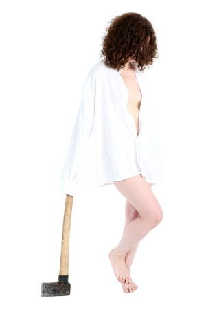 axe girl: girl with axe isolated in white Stock Photo