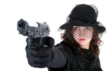 girl in hat with gun isolated on white photo